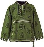 GURU SHOP Goa Kapuzenshirt, Baja Hoody, Herren, Olive, Baumwolle, Size:L, Sweatshirts & Hoodies Alternative Bekleidung