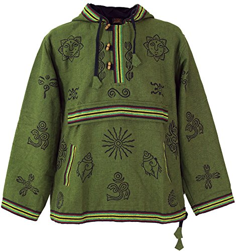 Guru-Shop Goa Kapuzenshirt, Baja Hoody, Herren, Olive, Baumwolle, Size:XL, Sweatshirts & Hoodies Alternative Bekleidung