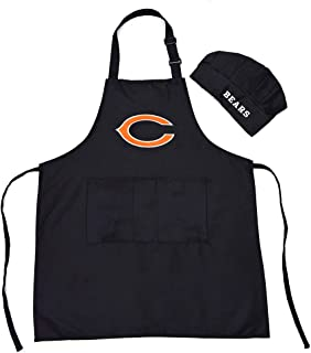 Gloral HIF Chicago Bears Chef Hat Apron Home Aprons Grill Aprons Picnic Pinafore with Pockets