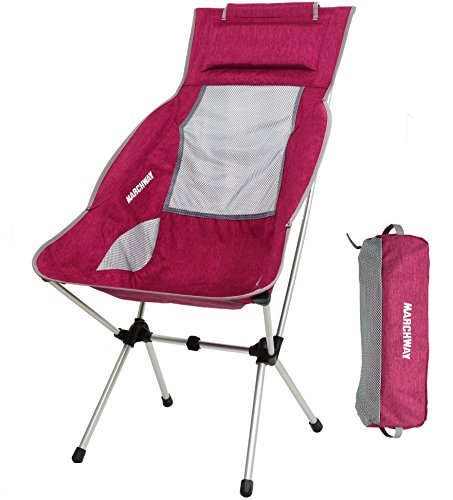 MARCHWAY Lightweight Folding High Back Camping Chair with Headrest, Portable Compact for Outdoor Camp, Travel, Picnic, Festival, Hiking, Backpacking (Red)
