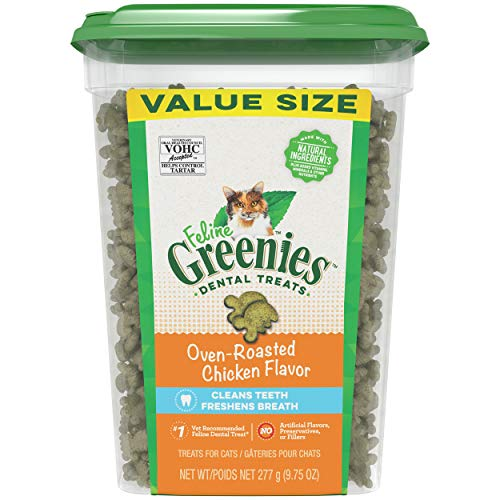Greenies Feline Adult Dental Cat Treats, Oven Roasted Chicken Flavor, 9.75 Ounce Tub