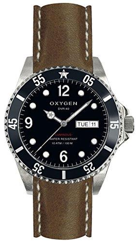 OXYGEN-EX-D-Mob, 40 CL-DB-Armbanduhr-Quarz-Analog Leder Braun