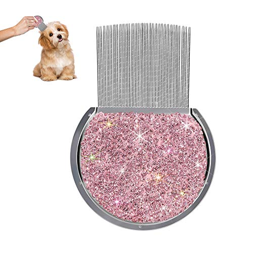 SAVORI Grooming Tools Metal Comb for Dogs Cats Rabbits Bling Rhinestone Dog Tear Stain Comb Flea Comb Bunny Comb Cat Doggy Short Hair Removal with Dense Teeth (Pink)