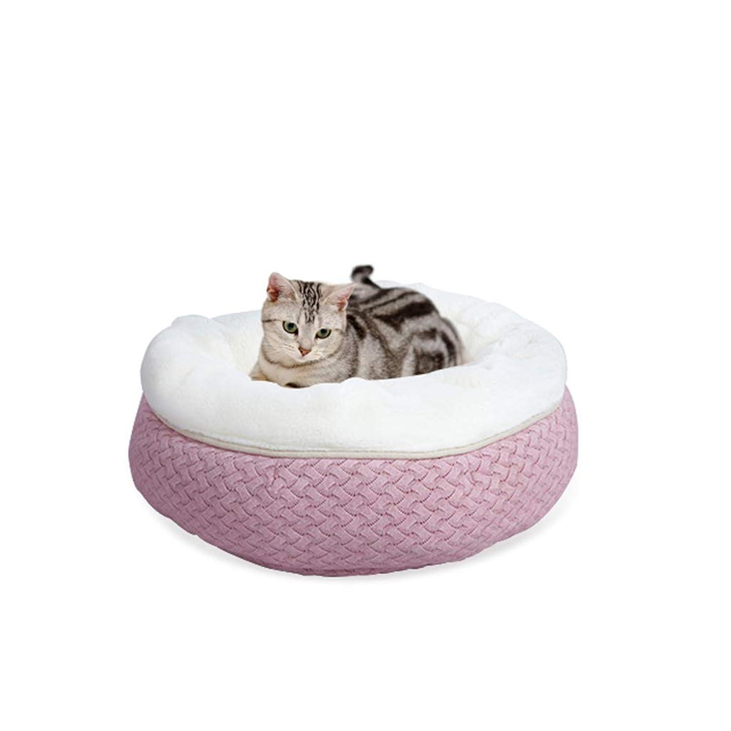 ストローク泥だらけ船上猫マット猫砂温泉四季姫猫寝袋猫の家猫の巣子犬の巣動物の巣猫のベッド暖かい防風(色:ピンク)