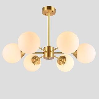 6 Luces Moderno Sputnik Lámparas De Araña Iluminación,Mid Century Lámpara Colgante,Latón Blanco Mate Plafón,Vintage Industrial Iluminación Colgante Plafón Dorado 6 Cabezas