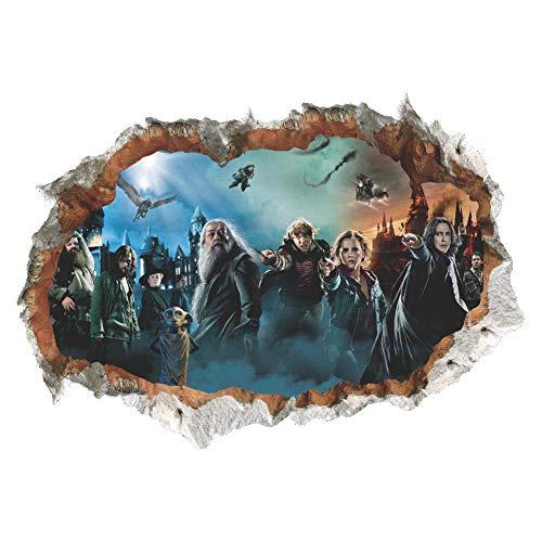 Zhongyanxin 3D Broken Wand Harry Potter Charakter Szene Hogwarts Schloss Wand Sticker Aufkleber Zuhause Dekor