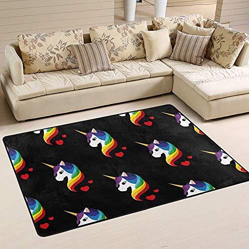 Fun-World Area Rug Tapis de Licorne Tapis coloré Moderne pour Salon Chambre à Coucher Tapis de Chambre de bébé Lavable en Machine,150X100Cm