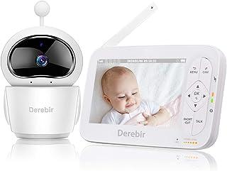 """Vigilabebés con Cámara Bebé Monitor Inalámbrico Video 720P HD 5""""Pantalla LCDRemoto Pan-Tilt-Zoom/Visión Nocturna/Sensor de Temperatura/Modo de Dormir/Comunicación Bidireccional"""