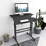 SogesHome 31.5 inches Adjustable Laptop Desk Table Portable Laptop Table Computer Stand Desk Cart Tray with Computer Host Stand, Black, 101-2BK-NSDUS
