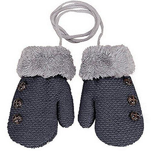 HENGSONG Kreative Warme Handschuhe Baby Jungen Mädchen Kleinkind Kind Gestrickte Fäustlinge (Dunkelgrau)