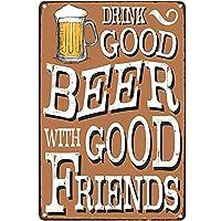 オリジナルのレトロなデザインのティンメタルサインウォールアート|良い友達とおいしいビールを飲む|バー(ビール)の厚いブリキプリントポスター