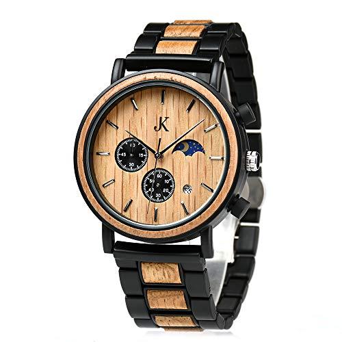 Kim Johanson Herren Holz-Edelstahl Armbanduhr *Military* in Hellbraun Chronograph mit Stoppuhr & einem Gliederarmband Handgefertigt Quarz Analog Uhr inkl. Geschenkbox