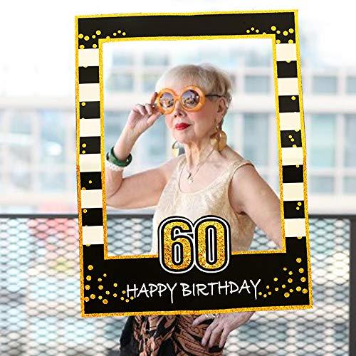 JeVenis Black Gold 60th Birthday Party Photo Booth Puntelli 60th Birthday Photo Frame Birthday Photo Frame