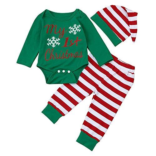 POLP niño Navidad Bebe Ropa Disfraz Traje de Manga Larga Conjunto Bebe Recién Nacido Regalo de Pantalones Estampados de Manga Larga a Rayas de Trajes Bebe Invierno Tops y Pantalones Gorro