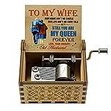 Hefonti Music Box Gift for Wife - Valentine Anniversary Christmas Birthday Gift to Wife Girlfriend from Husband Boyfriend Romantic Hand Crank Musical Box Play You are My Sunshine
