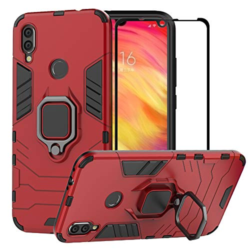 BestAlice for Xiaomi Redmi Note 7 / Redmi Note 7 Pro Case, Hybrid Heavy Duty Protection Shockproof Defender Kickstand Armor Case Cover Tempered Glass Screen Protector,Red