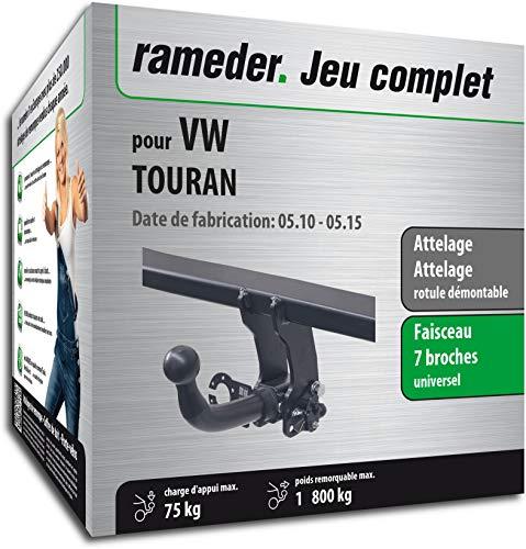 Rameder Pack, attelage rotule démontable + Faisceau 7 Broches Compatible avec VW TOURAN (131105-10449-2-FR)