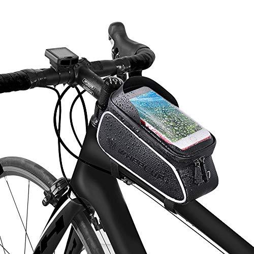 Youcoco 自転車トップチューブバッグ 自転車バッグ6.5インチスマホ対応 充電 防水 防圧 遮光 軽量 旅行 防塵 多機能 梅雨対策 収納便利 ホルダータッチパネル ヘッドホン穴あり アウトドア 遠足など クロスバイク/ロードバイク/マウンテンバイク