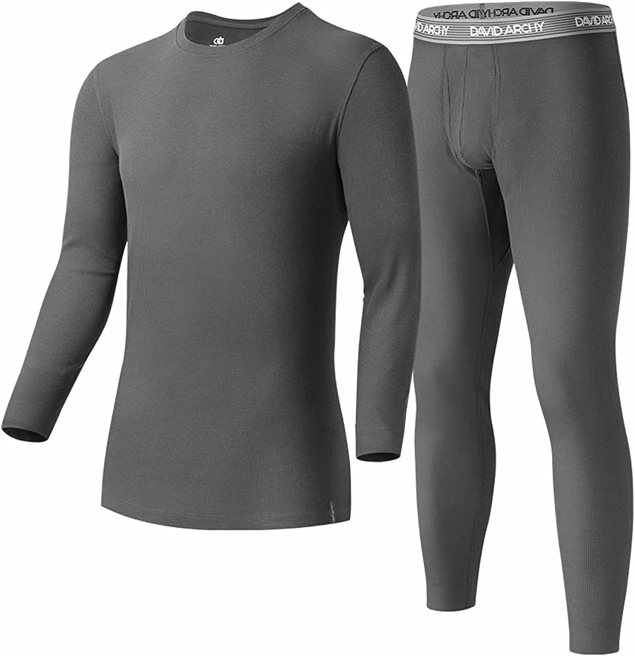 DAVID ARCHY Men's 2 Pack Soft Cotton Thermal Pants Rib Stretchy Base Layer Thermal Underwear Bottoms Long Johns Leggings