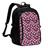asfg Resistente a Las Manchas SmallFlowersPattern Multifunctional Personalized Customized USB Backpack, Student School Outdoor Backpack,Travel Bag Laptop Bookbags Business Daypack.