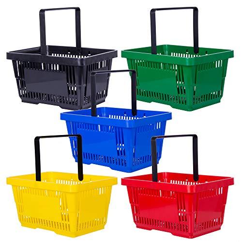 goodsforbusiness GmbH 10x Einkaufskorb schwarz 22l | 1 Tragebügel Kunststoffkorb Körbe stapelbar | Tragekorb stabil | Plastikkorb lebensmittelgeeignet | Shopping-Basket | Handkorb bis 30kg belastbar