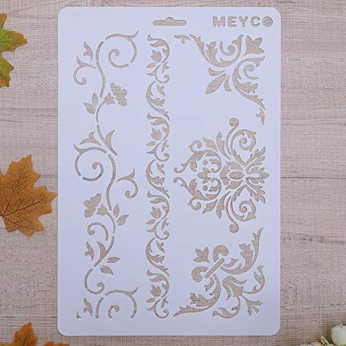 Dekoschablonen-Set, Blumen, A4, wiederverwendbar, Shabby-Chic-Stil , Widerverwendbare PVC-Schablone, A4 31.5 x 22 cm / 12.4 x 8.66 in