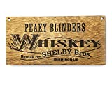 """Targa in legno con la scritta """"Peaky Blinders Whiskey bottled for Shelby Brothers"""", 20 x 10 x 3 cm"""