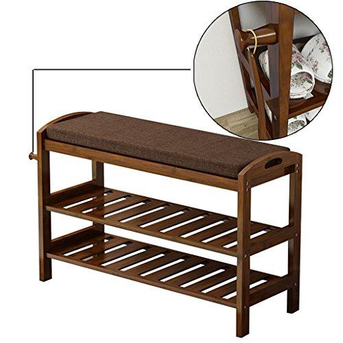 Banc fini de chaussure de bambou d'Espresso avec un crochet pour le chausse-pied accrochant, armoire en bois d'organisateur de chaussure de support au-dessus de la porte (taille : L 70cm)