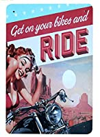 バイクに乗る 金属板ブリキ看板警告サイン注意サイン表示パネル情報サイン金属安全サイン