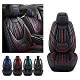 Juego de fundas para asiento de coche para Toyota Yaris 2002-2021, funda de cojín de piel sintética para vehículo, protectores impermeables compatibles con airbag (negro)