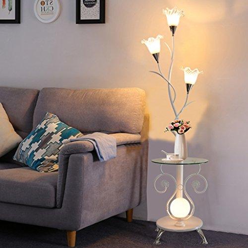 MILUCE Lampe de plancher moderne à la table à café, créative, salle de séjour, étude, chambre, chevet, alimentation, table, lampes ( Couleur : Blanc )