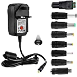 EFISH Universal Multifunctional Portable DC Power Transformer (Included USB),AC Power Supply Adapter 100-240V to 3V/4.5V/5V/6V/7.5V/9V/12V-MAX 2A (2000mA) for Household Electronics+8 Different Plugs