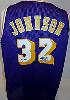8d64e425345 Magic Johnson Autographed Signed Los Angeles Lakers Custom Jersey with PSA/ DNA Authenticiy and Hall