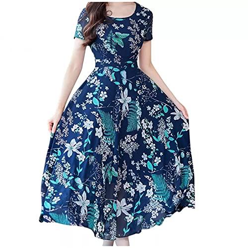 Vestido de Verano Mujer Vintage Bohemio Casual Estampado Floral Manga Corta O-Cuello...