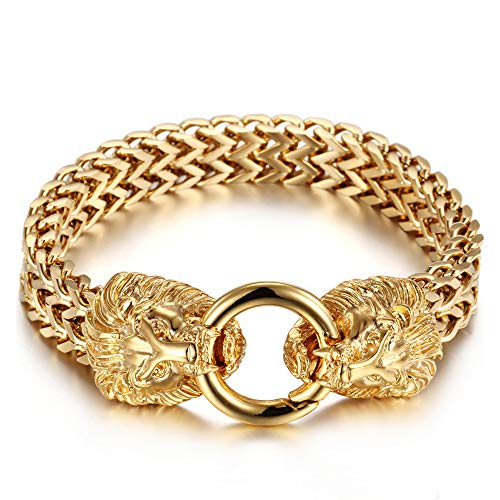 BLICHAIN Bracelet with Design Double Gothic Lion Head for Men Boys 12mm 18K Gold Plated Stainless Steel Biker Jewelry Franco Link Curb Chain Bracelet with Spring Ring Clasp 9 Inches(Gold)
