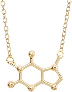 Chemical Element Dopamine Molecular Structure Pendant Necklace for Science Student Gifts