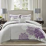Comfort Spaces Enya 5 Piece Comforter Set Ultra Soft Hypoallergenic Microfiber Floral Print Bedding, Queen, Purple/Grey