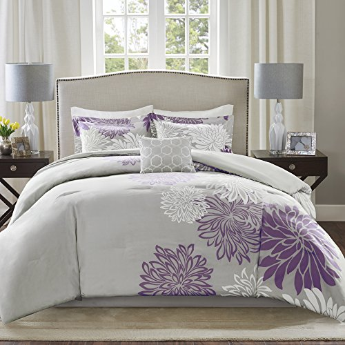 Comfort Spaces Enya 5 Piece Comforter Set Ultra Soft Hypoallergenic Microfiber Floral Print Bedding, Queen, Purple/Grey,CS10-0023