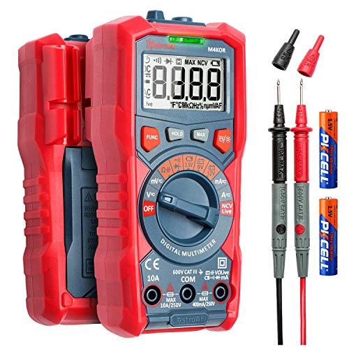 AstroAI True RMS 4000 Counts Digital Multimeter Auto-Ranging Voltmeter 1,5V/9V/12V Batteriespannungstester Spannungsstromwiderstand Dioden Durchgangsvoltmeter mit berührungsloser Spannungsfunktion