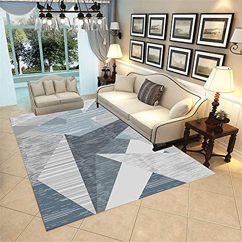 Kunsen alfombras Comedor Decoracion habitacion Bebe Decoración de la Sala de Estar de la Alfombra Gris Azul Decoración del hogar Rectangular Moderna Alfombra Dormitorio 120X160CM 3ft 11.2' X5ft 3'