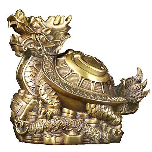 J.Mmiyi China Estatua Feng Shui Adornos Latón Dragon Tortuga con Grabado del Patrón De Yin Yang Escultura Figura Riqueza Prosperidad Inicio Oficina Decorativa,Latón