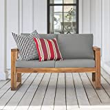 Walker Edison Sorrento Modern Acacia Wood Outdoor Loveseat with Cushions, 30...