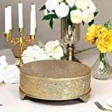 Efavormart 14 inch Gold Round Embossed Metal Cake Plateau Stand Riser Wedding Birthday Party Dessert Cake Pedestal Display Plate