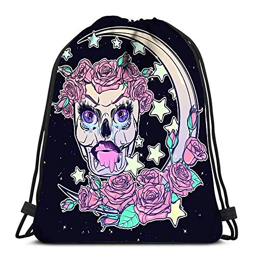 JDHFJ Bolsa con cordón Drawstring Backpack Bags Sports Cinch Kawaii Night Sky Composition with Skull Roses Stars and Moon Crescent for School Gym