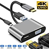 neefeaer Adaptador USB C a HDMI VGA 4k, USB C Hub con 4K HDMI, 1080P VGA, USB 3.0, Carga USB C PD, Compatible con MacBook Pro/Air/iPad Pro 2018 / DELL XPS/Nintendo Switch/Samsung más