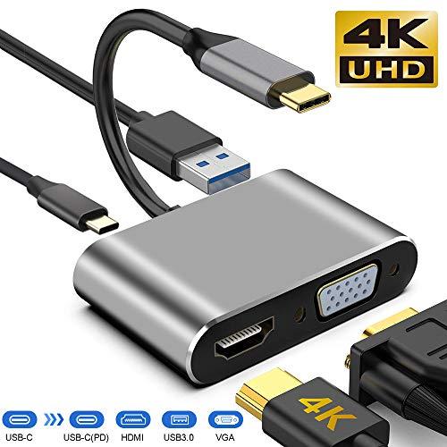 neefeaer Adaptador USB C a HDMI VGA 4k, USB C Hub con 4K HDMI, 1080P VGA, USB 3.0, Carga USB C PD, Compatible con MacBook Pro/Air/DELL XPS/Nintendo Switch/Samsung más