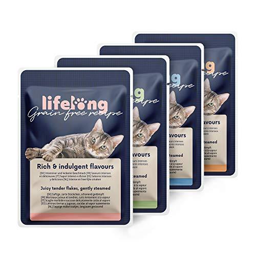 Amazon-Marke: Lifelong Getreidefreies Nassfutter für ausgewachsene Katzen (Fleischauswahl in Brühe: Huhn, Ente, Truthahn, Leber)- 2,4 kg (28 Beutel x 85g)