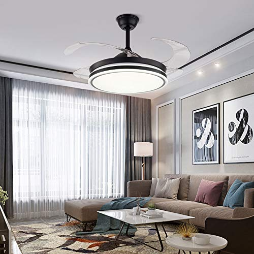 42 Inch Modern Ceiling Fan Chandelier with Remote Control Retractable Blades for Living Room Restaurant Bedroom Black
