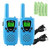 Kids Walkie Talkies Rechargeable, 4 Miles Long Range Walkie Talkies Toy with Durable Rugged Sports Design and Flashlight, for Kids, Two Way Radios Toy 2 Pack, Batteries Included(Blue)