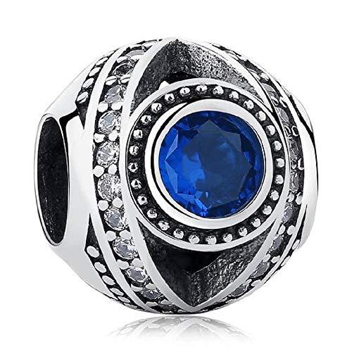 FeatherWish - Abalorio redondo de plata de ley 925 con diseño de ojo de Fátima azul con circonita cúbica azul para pulsera Pandora